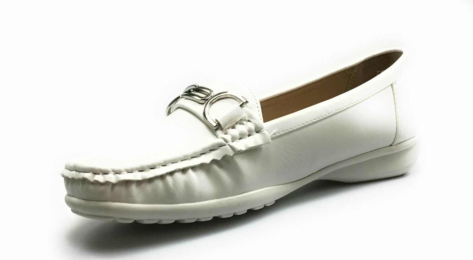 Womens Leather Flat Loafer Shoe With Silver Medallion Pierre Dumas Hazel-26