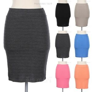Solid Ribbed Stripes Knee Length Pencil Straight Skirt Casual Comfortable Cute