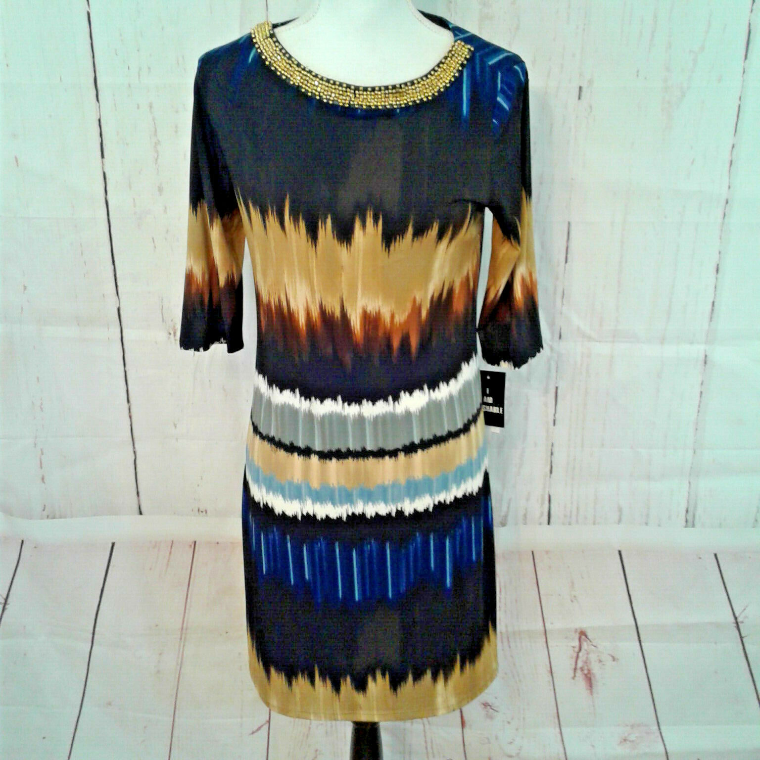 Sharon Darren damen Blau schwarz Gold Ombre Beaded Collar Shift Dress Sz 6 Flaw