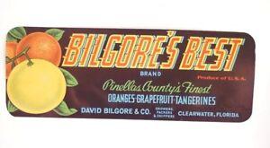 Vintage-Circa-1930-039-s-Bilgore-039-s-Best-Brand-PINELLAS-FL-Citrus-Crate-Fruit-Label