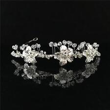 Rhinestone Crystal Flower Crown Tiara Wedding Bridal Flower Girl Headband