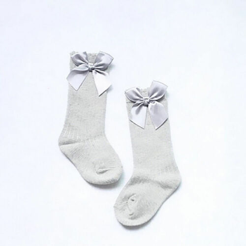 Toddler Kids Baby Girl Knee High Long Socks Bow Cotton Casual Stockings for 0-4Y