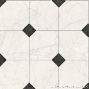 3 8mm Thick Vinyl Flooring White Marble Tile Amp Black Motif