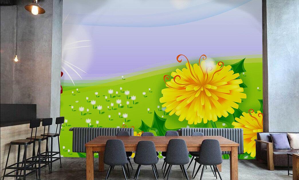 3D Goldenes Blaumenfeld 74 Tapete Wandgemälde Tapete Tapeten Bild Familie DE