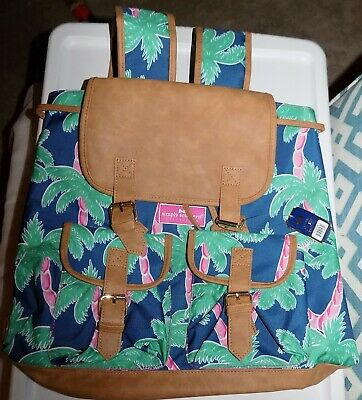 NEW Simply Southern Preppy Palm Tree Sling String Drawstring Pack Gym Book Bag
