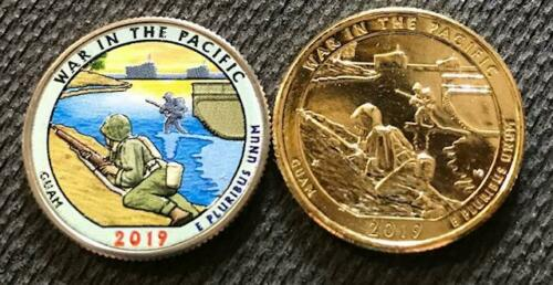 2019 D COLOR /& 24K GOLD LAYERED WAR IN THE PACIFIC 2 COIN QUARTER SET GUAM