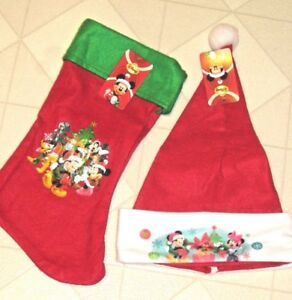 38456b09321cd Christmas Stocking   Santa Hat Mickey Minnie Mouse Disney Child Red ...