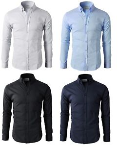 Men-039-s-Casual-Shirt-Button-Down-Slim-Fit-Long-Sleeve-Formal-Shirts-PS24