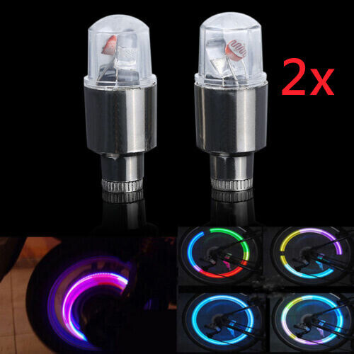 2 Neon LED Lamp Flash Tyre Wheel Valve Cap Light Fit Car Bike Bicycle Motorcycle