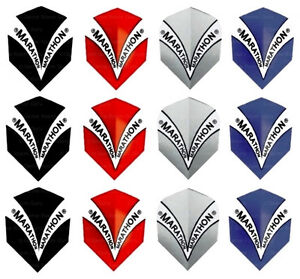 4 Sets of Harrows Standard Marathon Dart Flights - Red - Black - Blue - Silver