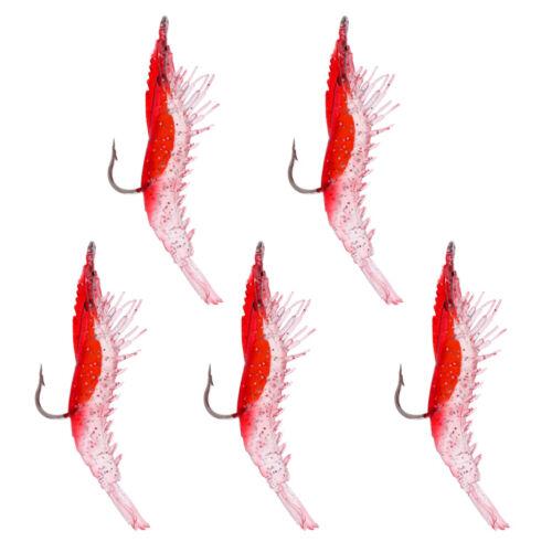 5 Stücke Angeln Weiche Kunstköder mit Einzel Haken Garnelen Fischköder