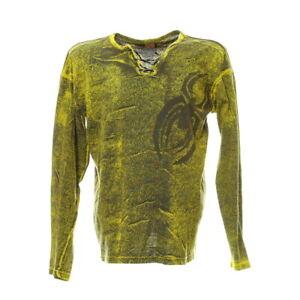 Longsleeve-Herren-Gr-XL-Langarm-Shirt-Schnuerung-Spider-Batik-Print