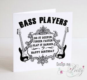 Details About BASS GUITAR Funny BIRTHDAY CARD Bassist Fender Precision Jazz