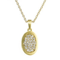Fashion Jewelry Necklace Cubic Zirconia 14k Gold Over 16 Chain 1 Oval Pendant