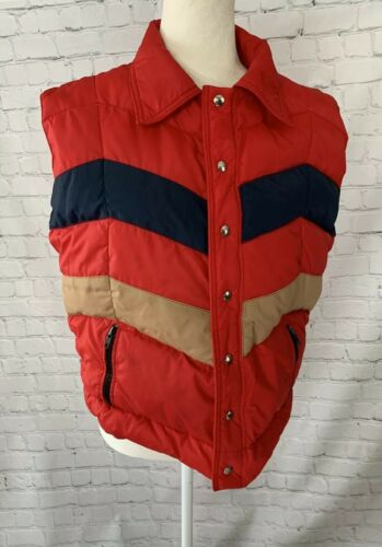 Vintage 1970s Frostline Kit Puffer Vest Medium Red