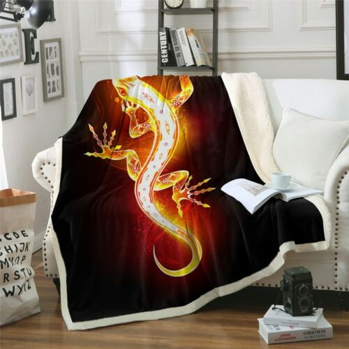 Lizard Flame Fire Animal Black Sherpa Plush Throw Blanket Fleece Bed Sofa Couch