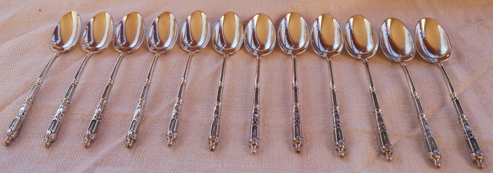 12 cuillers à café dessert en métal argenté manches  à la russe   Orf.S.F.A.M