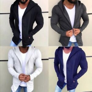 Oversize-Pullover-Cardigan-Strick-Jacke-Kapuze-Herren-Schwarz-Blau-Grau-S-XXL