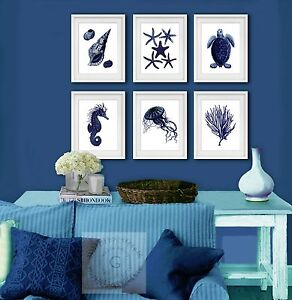 Navy Blue Sea Life Coastal Wall Decor