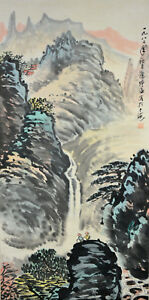 Vintage-Chinese-Watercolor-WATERFALL-LANDSCAPE-Wall-Hanging-Scroll-Painting