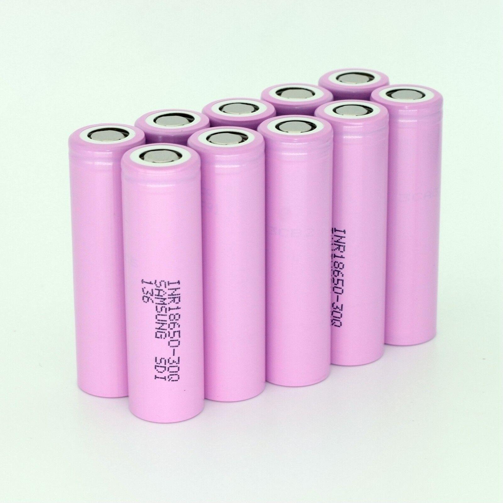 10pcs SAMSUNG 30Q INR 18650 3000mAh/15A High Drain Flat Top Rechargeable Battery