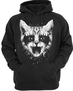 Metal Kitty Hoodie Mens Womens hoody cat pussy kitten rock punk black white