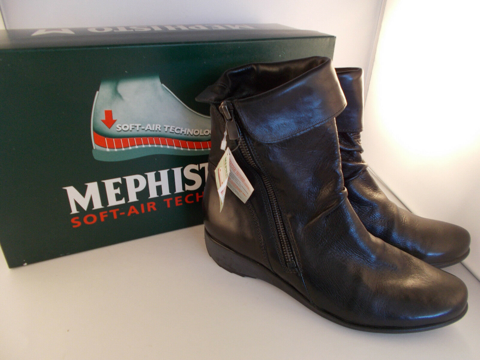 Mephisto Seddy Black Texas Handmade Soft-Air Women's Boots Size 6 US New In Box