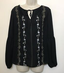 Lord-Taylor-Medium-Blouse-Black-Long-Sleeve-Embroidered-Floral-Peasant-Top