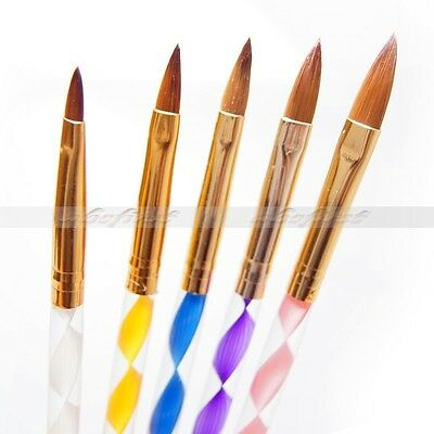 5pcs Nail Art Liquid Carving Brush Pen size 2/4/6/8/10 For Acrylic UV Gel Set