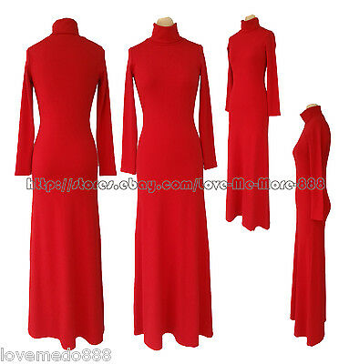 New womens Turn-down Turtle Neck Plain Basic Long Sleeve Long Maxi Casual Dress