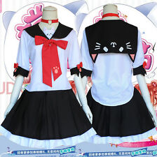 Anime Kawaii Neko JK Uniform Cosplay Costume Lolita Dress Harajuku Bow#CUZ99