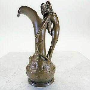 Art-Nouveau-Leda-with-Swan-Bronze-Bud-Vase-Ewer-Pitcher-Hat-Pin-holder-425-1910