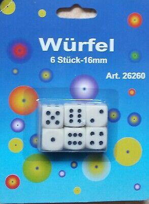W6 16 mm Kunststoff elfenbein Würfel