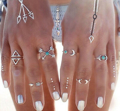 6Pcs Silver Tone Turquoise Arrow Moon Rings Set Lady Women Statement Jewelry
