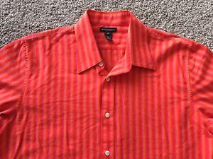 CLUB-MONACO-L-Striped-Shirt-Orange-Red-Large