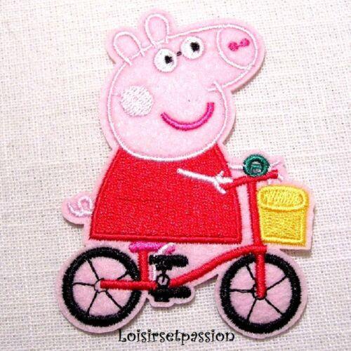 COCHON PEPPA PIG APPLIQUE Écusson Vélo ** 6,5 x 9 cm ** Patch brodé à coudre