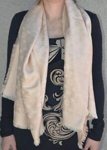 cd652a03cdd0 NEW LV PINK Monogram Silk Wool Scarf Shawl 100% Authentic M72046 ...