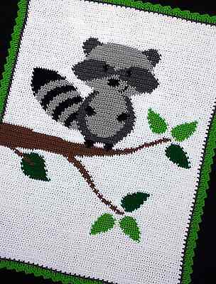 Crochet Patterns - RACCOON IN A TREE WOODLAND/FOREST Baby Afghan Pattern *EASY*