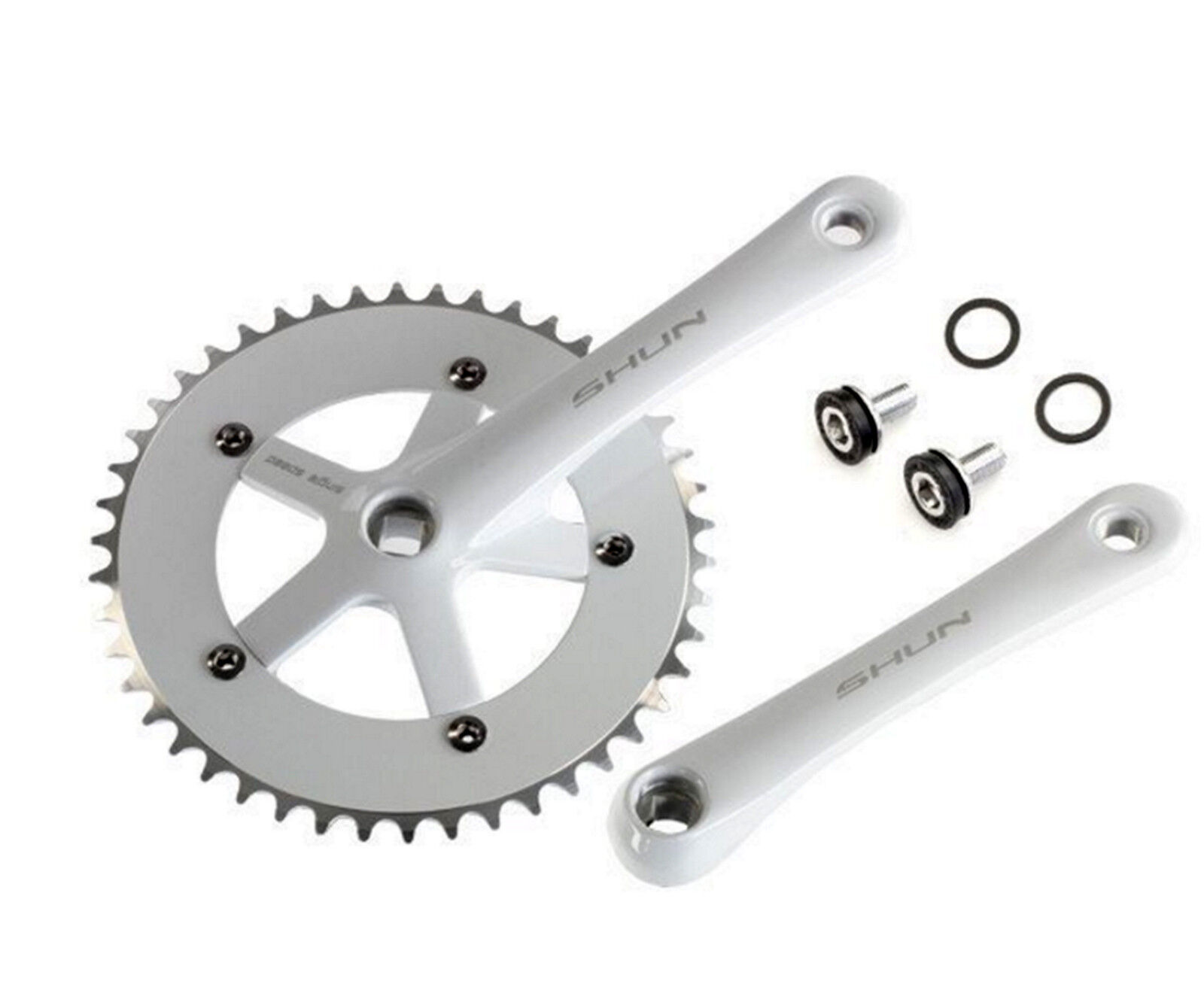 Plato y Bielas blancoooO Aluminio CNC Bicicleta Fixie Singlespeed 165 x 46 T 3742