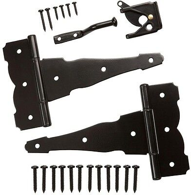 Black Gate Hinge Latch Set Steel Hardware Fence Lockable