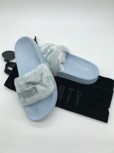 on sale 6d3aa 85af8 Details about Puma x Rihanna Fenty Fur Slide Cool Blue Sandal Shoes 100%  Authentic
