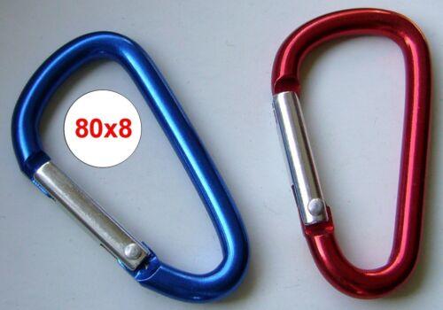 5 x Carabiner Aluminium Red 80x8 A