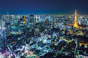 Fototapete-Tokyo-bei-Nacht-Wandbild-Japan-Poster-Motiv-by-GREAT-ART