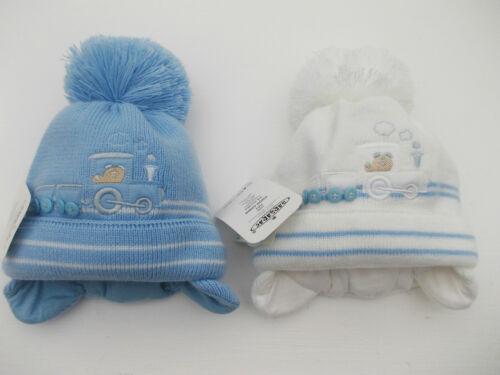 BNWT boys warm winter Choo Choo train bobble hat in blue or white 0-3  3-6 6-12m