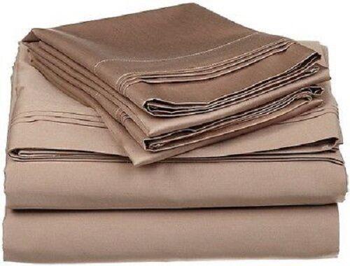 Bettbezug Set King Size Taupe Massiv 1000 Fadenzahl 100% Ägyptische Baumwolle