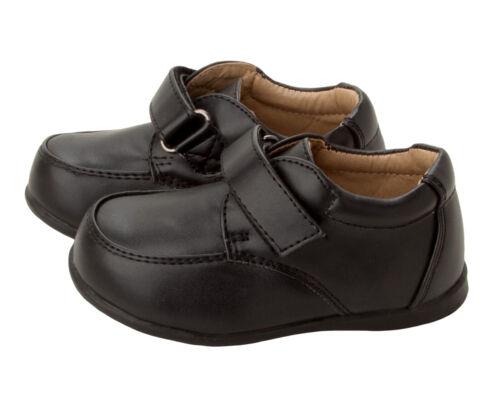 BOYS BLACK BACK TO SCHOOL SHOES EASY CLOSE SMART SHOES INFANTS UK SIZE 4-9