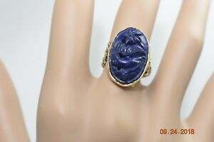 Blue-Lapis-Antique-14K-Gold-Ring-Vintage-Pierced-Carved-Bird-amp-Flowers-RARE