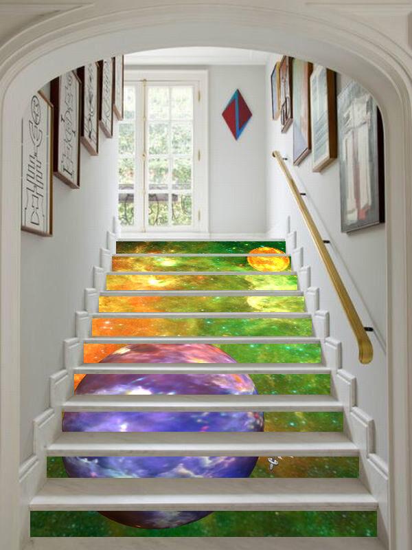 3D Farbe Planet 327 Stair Risers Dekoration Fototapete Vinyl Aufkleber Tapete DE