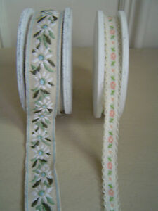 Gorgeous-Shabby-Chic-White-Daisy-or-Coral-Rose-Ribbon-by-the-Metre