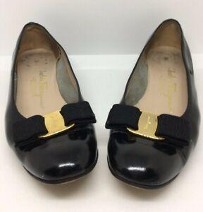 Salvatore-Ferragamo-Vera-Bow-Pumps-Women-039-s-Size-US-8-B-Black-Leather-Shoes